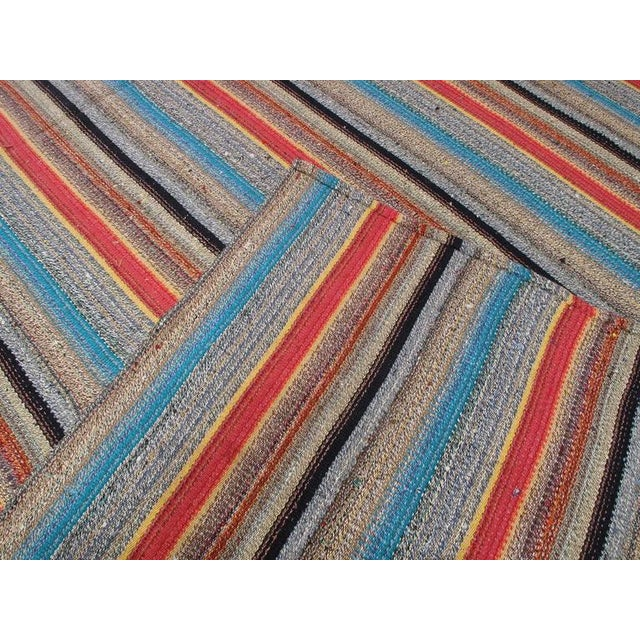 Cotton Large Kilim with Colorful Stripes For Sale - Image 7 of 8