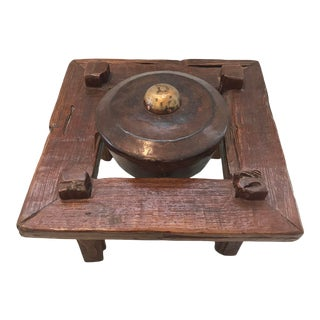 Vintage Burmese Ceremonial Gong on Wood Stand For Sale