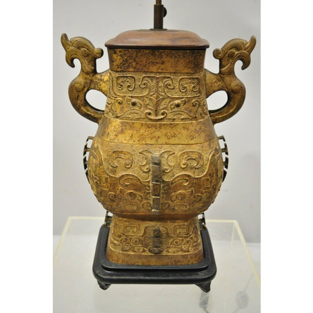 Chinese Antique Chinese Gilt Bronze & Rosewood Figural Double Light Table Lamp For Sale - Image 3 of 13