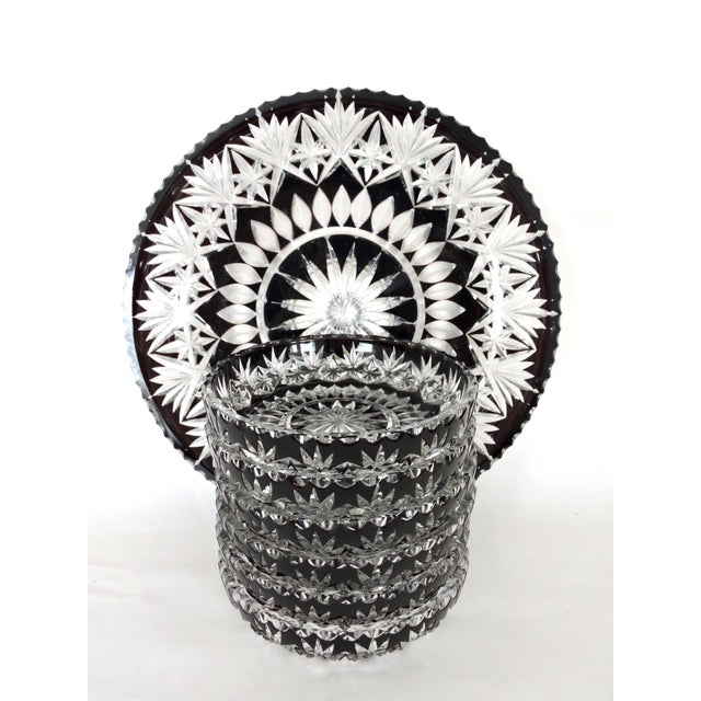 Antique English Cut Glass Serving Set, Platter and Six Bowls/Dishes For Sale In Tampa - Image 6 of 7