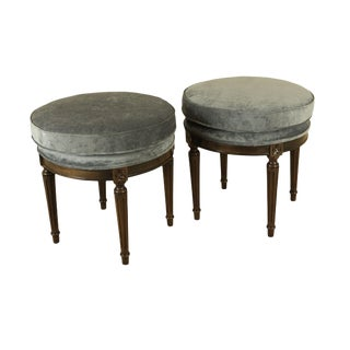 French Louis XVI Style Custom Quality Pair Round Stools For Sale