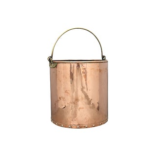 Large Antique English Copper Bucket For Sale