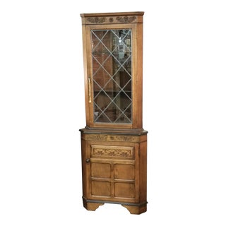 Vintage English Oak Corner China Cabinet For Sale