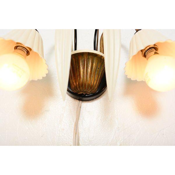 White Flower-Shaped Italian Wall Sconces - a Pair For Sale - Image 8 of 8