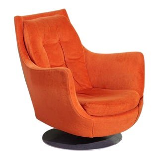 Vintage 1970s Orange Upholstered Swivel Chair For Sale