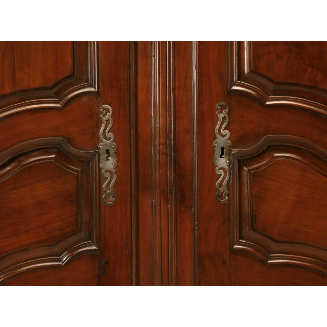 Circa 1800s French Louis XV Style Cherry Wood Armoire - Image 5 of 10