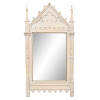 19th Century English Gothic Revival Bleached Oak Wall Mirror For Sale