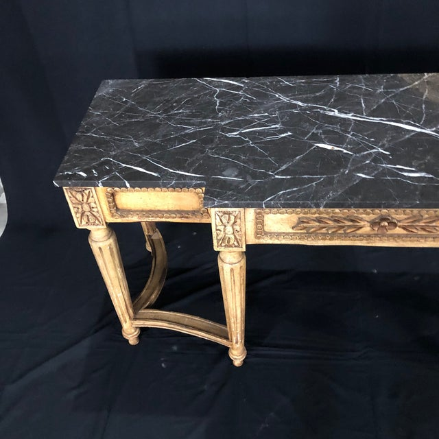 French Louis XVI Style Console Table With Marble Top For Sale - Image 11 of 13