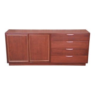 Harvey Probber Mid-Century Modern Mahogany and Brass Sideboard Credenza, Newly Refinished For Sale