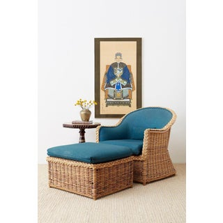 Pair of McGuire Rattan Wicker Lounge Chairs and Ottoman Preview