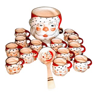 1950s Mid-Century Vintage Santa Punch Bowl Ladle Cups - Set of 15 For Sale