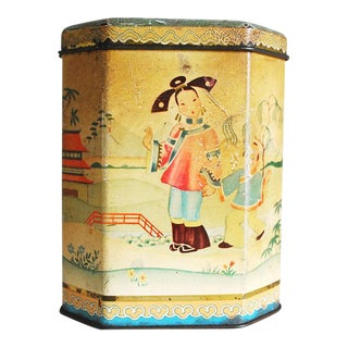 Antique Chinoiserie Style English Tea Tin For Sale