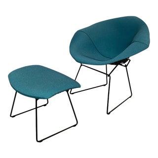 "Knoll ""Bertioa Diamond"" Lounge Chair & Ottoman For Sale"
