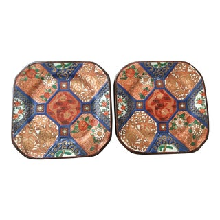 Square Imari Style Dragon Plates - a Pair For Sale
