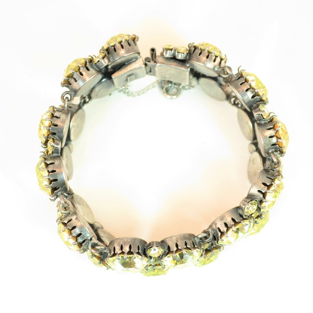Austrian Hand-Made Canary Crystal Link Bracelet 1950s For Sale - Image 9 of 13