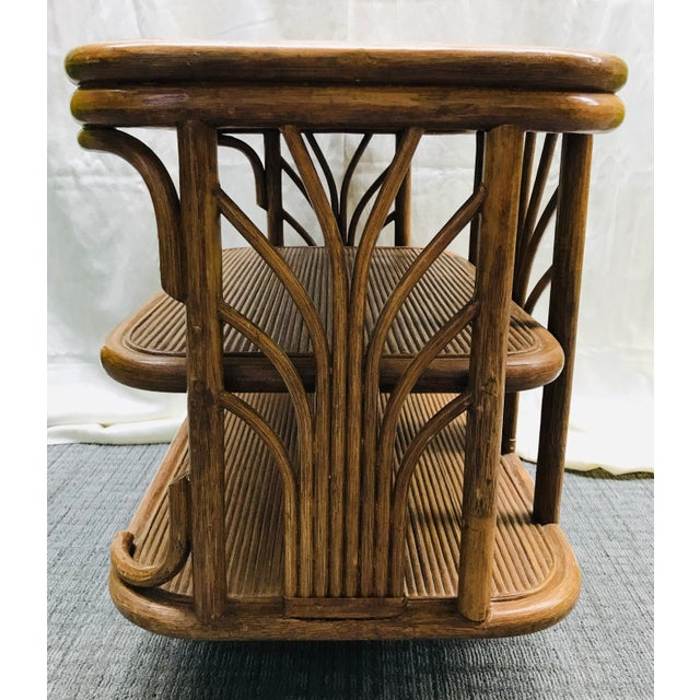 Paul Frankl 1980s Boho Chic Swivel Split Bamboo Rattan Console Table For Sale - Image 4 of 12
