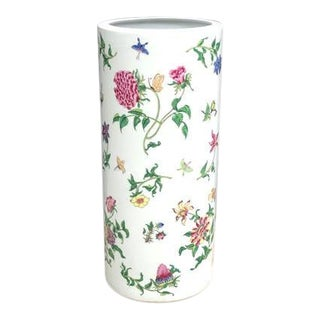 A.c.f. White Ceramic Floral Asian Umbrella Stand For Sale