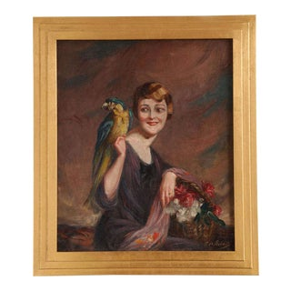 Art Deco Oil on Canvas by Pierre Mitiffiot De Bélair For Sale