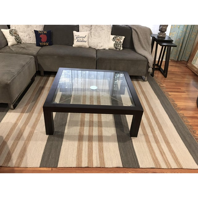 Roche Bobois Modern European Glass Top Coffee Table With Chrome Tension Wire For Sale - Image 10 of 10