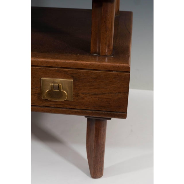 1970s 1970s Mastercraft Two-Tier Wooden Commode with Brass Pulls For Sale - Image 5 of 8