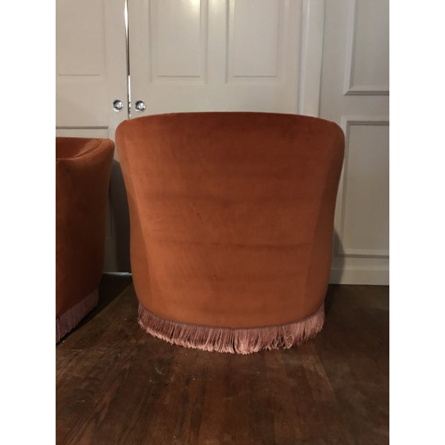 1970s Vintage Rust Color Velvet Swivels Chairs- A Pair For Sale - Image 4 of 13