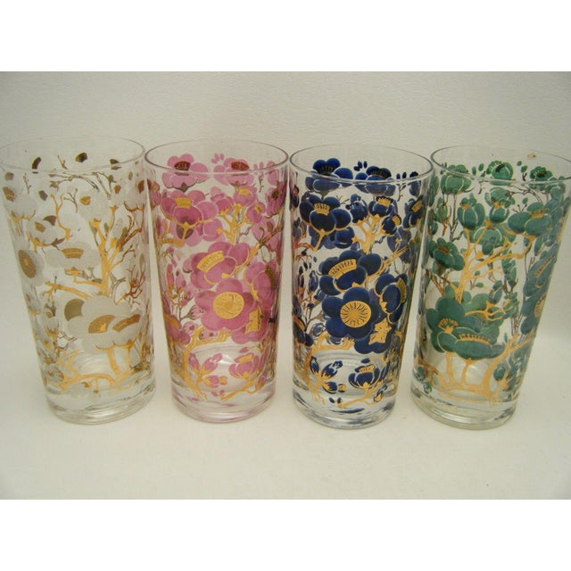 Vintage Fred Press Cherry Blossom Cocktail Glasses - S/4 - Image 2 of 5
