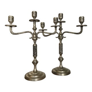 800 Silver Candelabras - a Pair For Sale