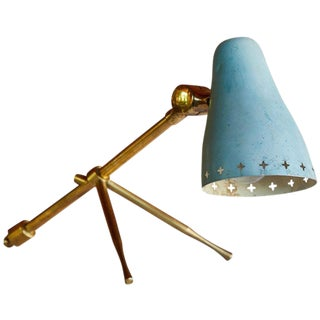 1950s Jean Boris Lacroix Blue Table / Wall Lamp