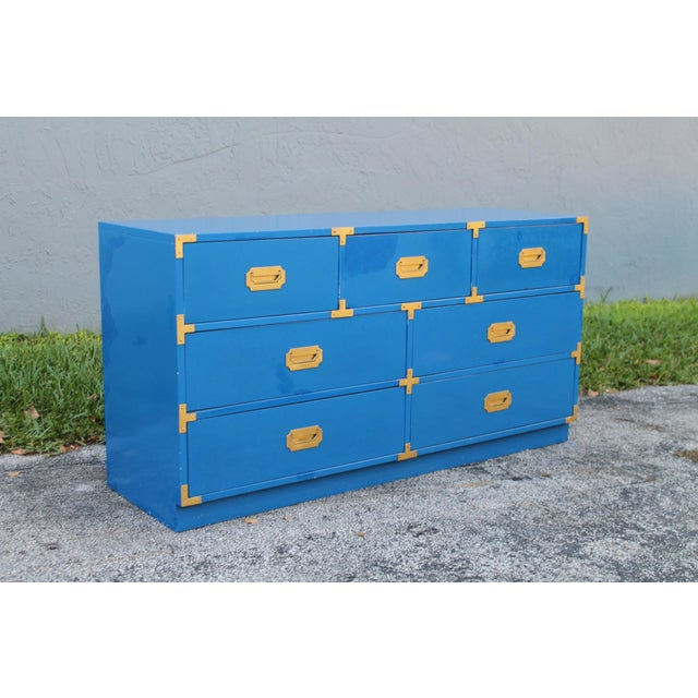 1950s Mid Century Modern Bernhardt Campaign Dresser For Sale In Miami - Image 6 of 7