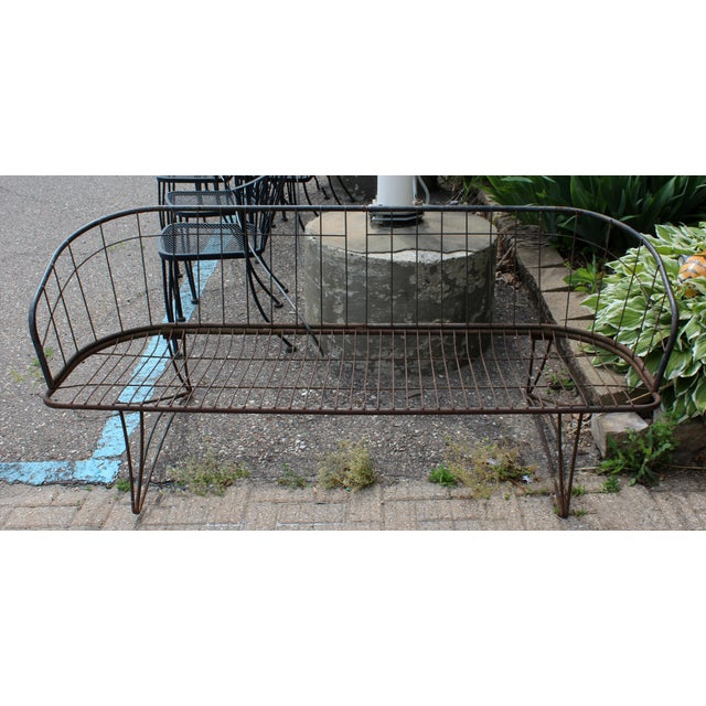 Metal Mid Century Modern Curved Iron Patio Bench Settee Woodard Era 1960s For Sale - Image 7 of 7