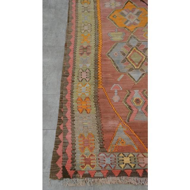 Turkish Hand Woven Shiny Tribal Runner Silk Rug - 3′10″ X 13′9″ For Sale - Image 10 of 10