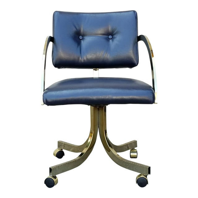 Milo Baughman Navy Office Chair For Sale