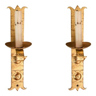 Gold Iron Sconces From Barcelona - A Pair