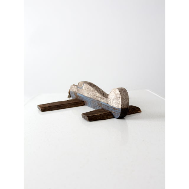 Mid 20th Century Vintage Wooden Toy Airplane For Sale - Image 5 of 8