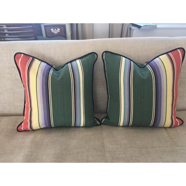 Awning Stripe Custom Pillows - A Pair For Sale In New York - Image 6 of 6
