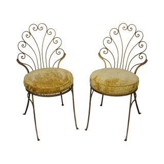 Vintage Italian Hollywood Regency Style Gilt Metal Side Chairs- A Pair For Sale