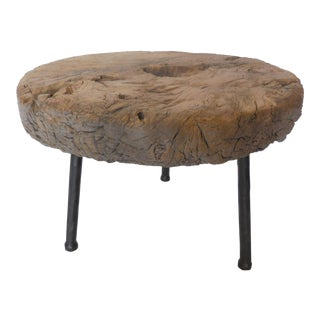 Antique Elm Wood Wheel Table on Iron Legs For Sale