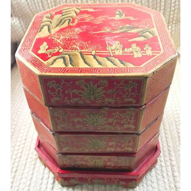 Mid Century Stacked Wood Asian Boxes - Image 3 of 9