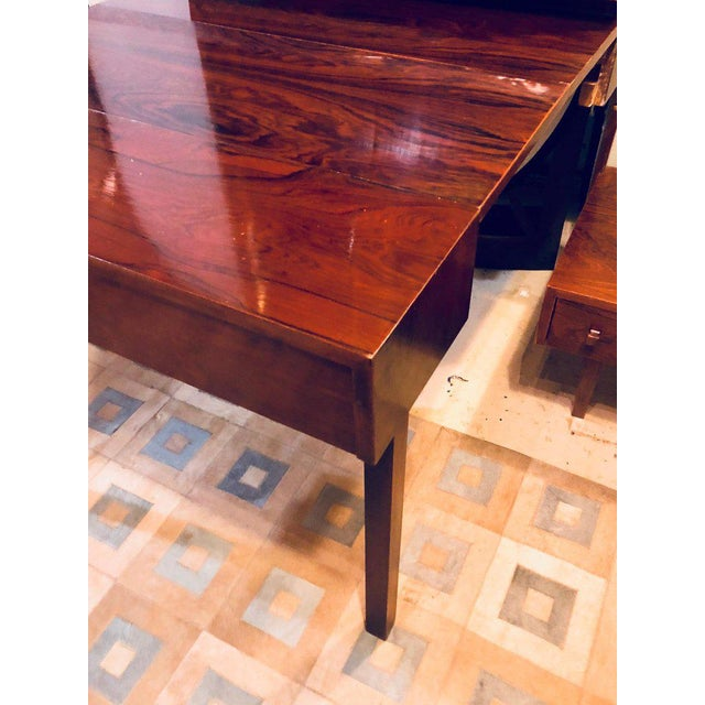 Midentury Rosewood Wall-Unit Including Table, Desk, Curio Cabinet and Light For Sale - Image 9 of 13