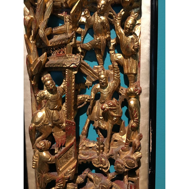 19th Century Carved Chinese Giltwood Wall Panel For Sale - Image 4 of 10