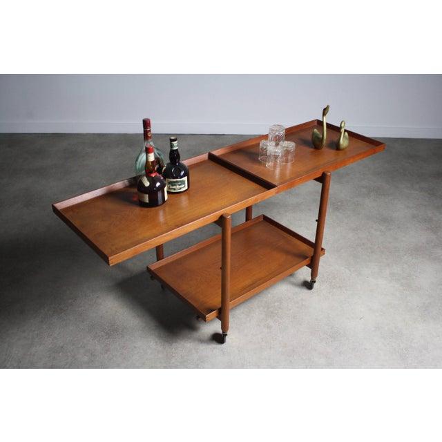 Danish Modern Poul Hundevad Danish Modern Expandable Bar Cart For Sale - Image 3 of 5