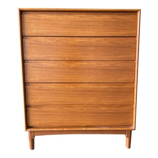 1970s Danish Modern Teak Highboy 5 Drawers Chest For Sale