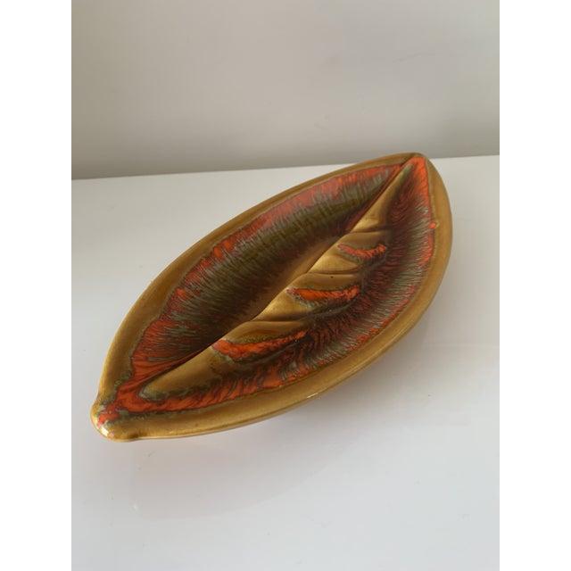 Mid Century Leaf Shape Lava Glaze Ashtray For Sale - Image 4 of 10