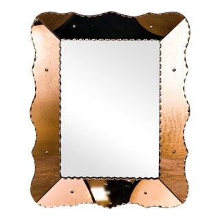Mid Century Copper Colored Venetian Glass Mirror, circa 1950