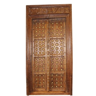 Antique Indian Hand Carved Wooden Door and Frame For Sale