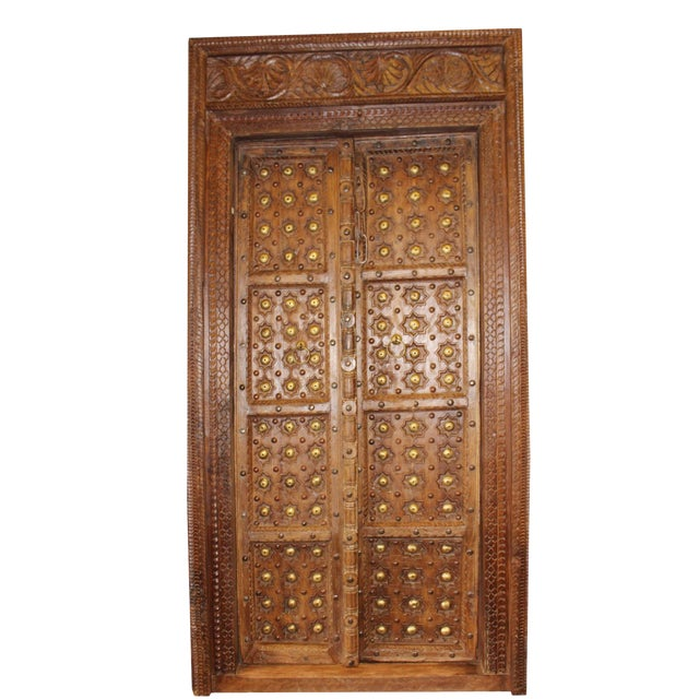 Antique Indian Hand Carved Wooden Door And Frame