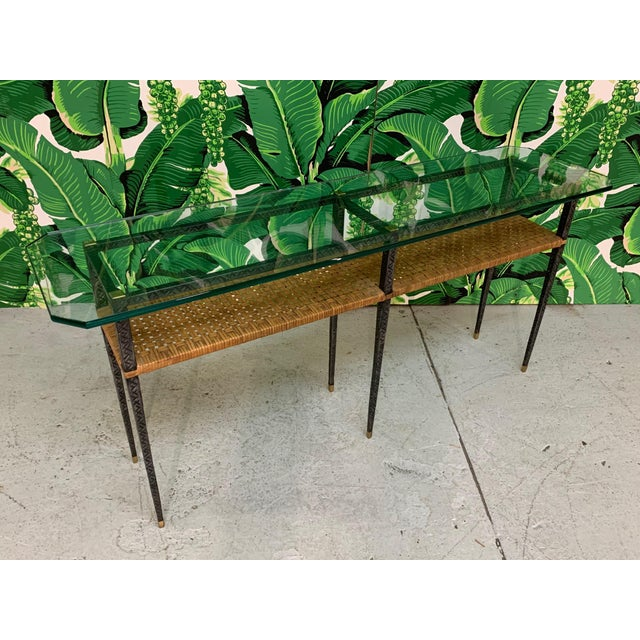 Steel and Rattan Console Table For Sale - Image 4 of 11