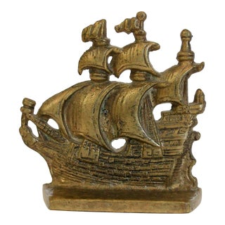 Brass Ship Door Stop or Bookend For Sale