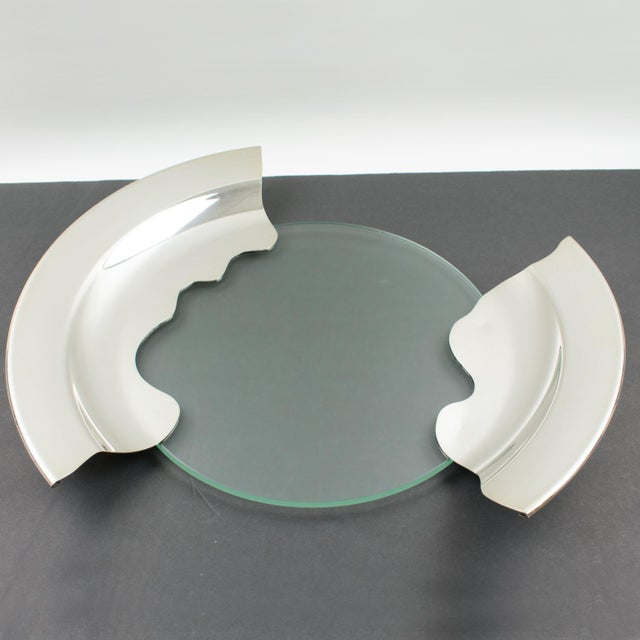 Silver 1980s Futurist Silver Plate Glass Platter Bowl Centerpiece For Sale - Image 8 of 11