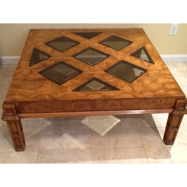 Wood Coffee Table With Smoked Glass Top Insert - Image 6 of 10